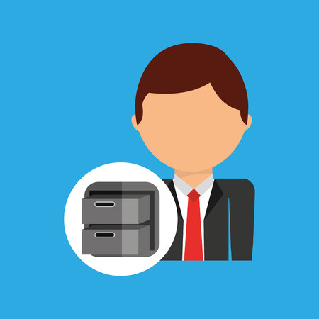 data archiving: archive file business man suit worker icon vector illustration Illustration