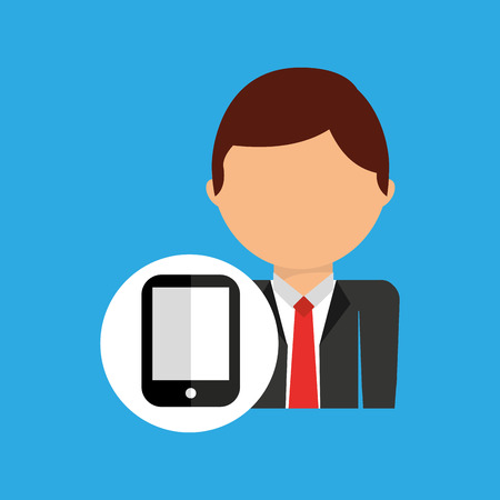 eps: smartphone business man suit worker icon vector illustration eps 10