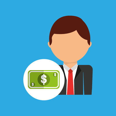 money business man suit worker icon vector