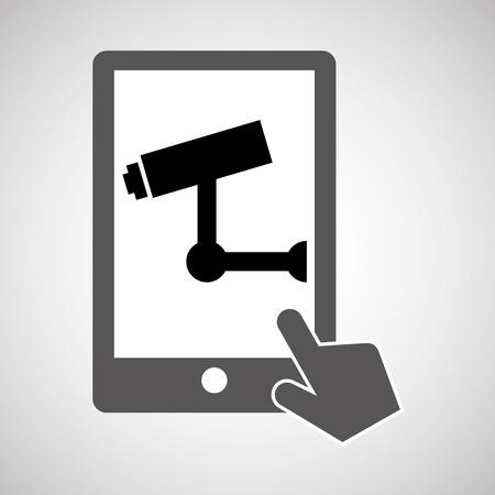 ddos: data protection smartphone surveillance camera vector illustration
