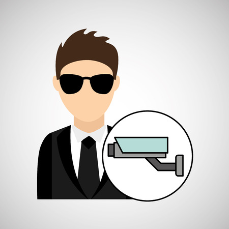 man cartoon digital technology security surveillance camera vector illustration eps 10