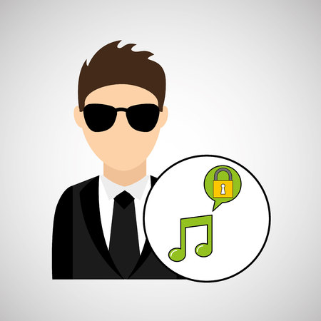 tax attorney: character man protected digital music vector illustration eps 10