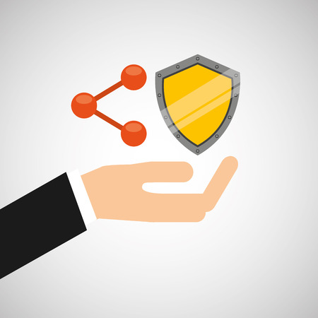 hand hold protected concept padlock share shield vector illustration eps 10 Illustration