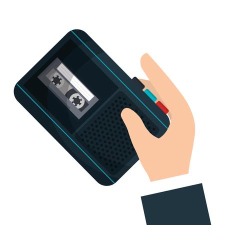 grabadora: grabadora de radio noticias de último diseño de ilustración vectorial