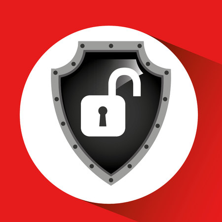 insure: hand holding padlock security shield data vector illustration eps 10 Illustration
