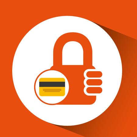 credit card banking money security padlock vector illustration eps 10 Illustration