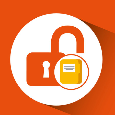 file document folder archive safety padlock vector illustration eps 10