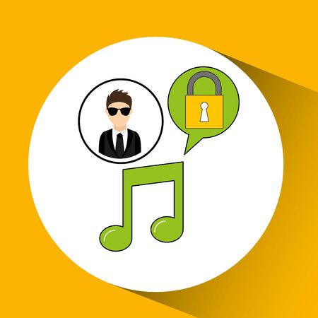violation: character man protected digital music vector illustration eps 10