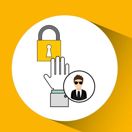 man cartoon lock digital technology security vector illustration eps 10