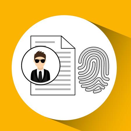 man cartoon fingerprint file digital technology security vector illustration eps 10