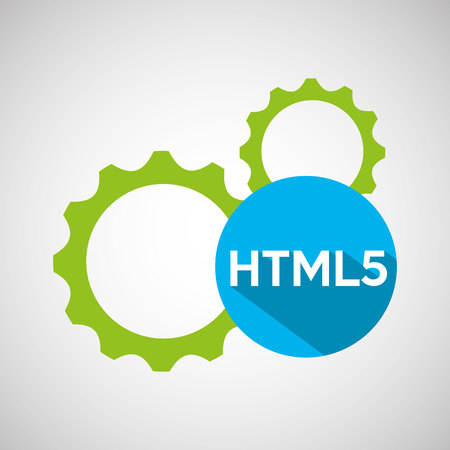web development gears html5 vector illustration eps 10 Illustration