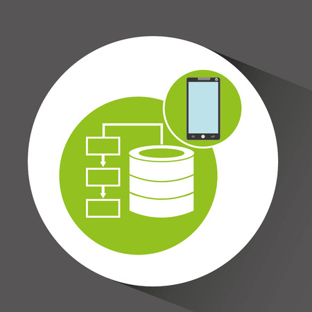 smartphone app development data base vector illustration