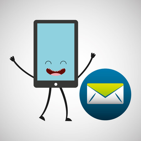 smartphone character and message email communication vector illustration Illustration