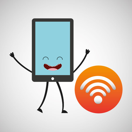 multitask: smartphone character and wifi internet vector illustration