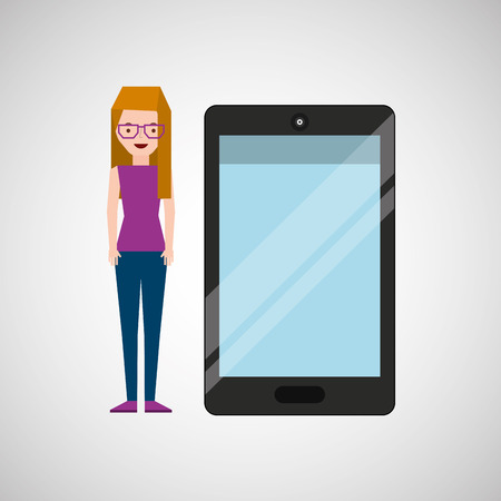 smart girl: cartoon girl and smart phone touchscreen vector