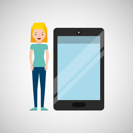 smart girl: cartoon girl and smart phone touchscreen vector illustration