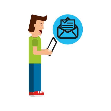 digi: character boy with tablet email newsletter open envelope vector illustration