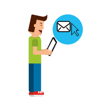 character boy with tablet email cursor vector illustration