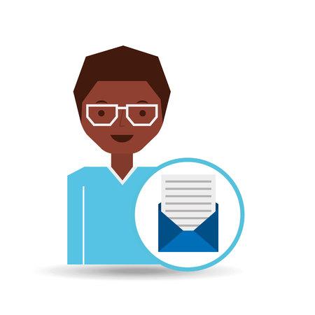 document file: man cartoon message document file vector illustration