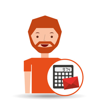 weariness: man business message calculator email vector illustration
