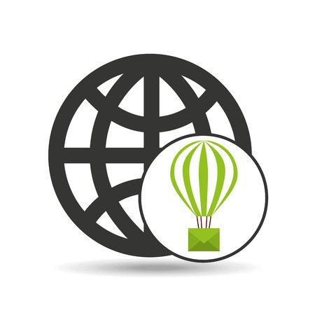 globe post email balloon icon Illustration