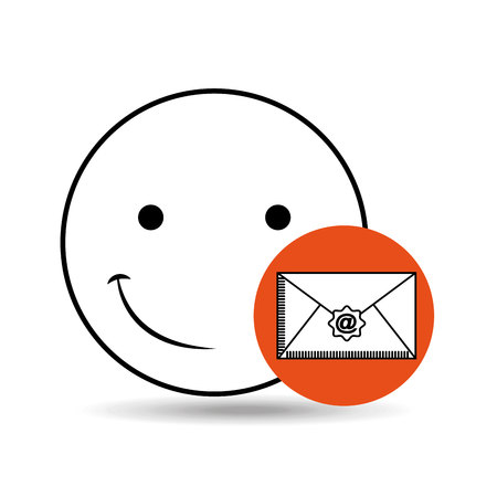 dissatisfaction: emoticon happy email concept vector illustration