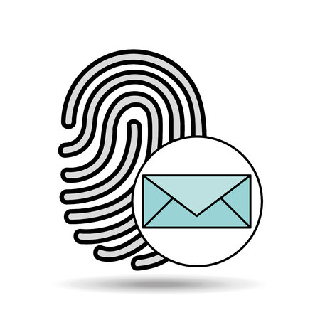 finger print email icon design vector illustration Illustration