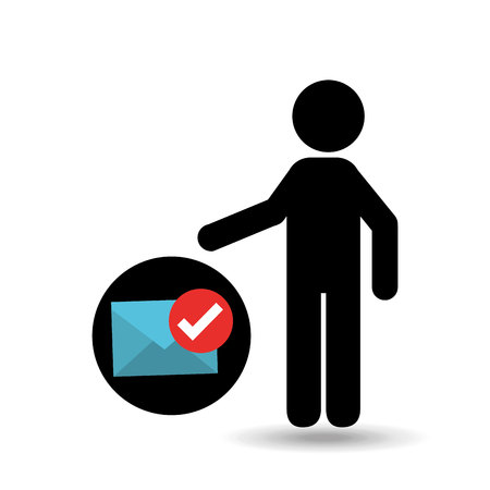 silhouette man with email envelope check mark vector illustration
