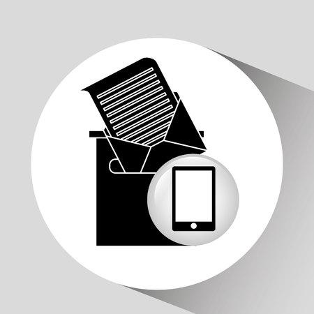 receiving: black smartphone device receiving email vector illustration Illustration