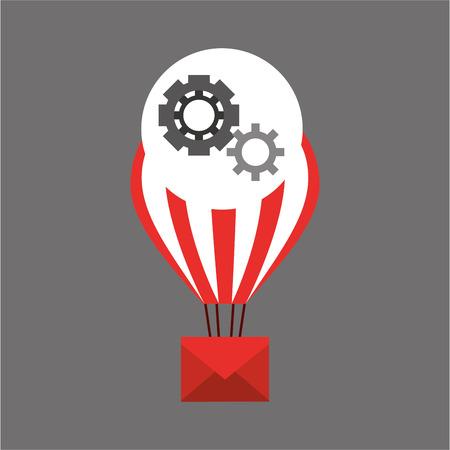 balloon email sending gears vector illustration