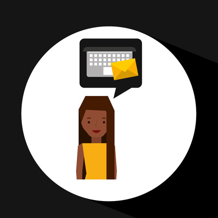 acquaintance: girl cartoon email envelope laptop vector illustration Illustration
