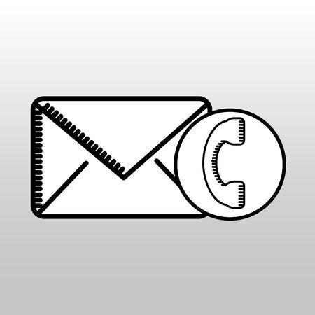 telephone email envelope postal design vector illustration