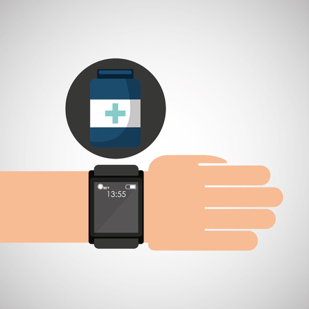 phonendoscope: smartwatch device health container vector illustration