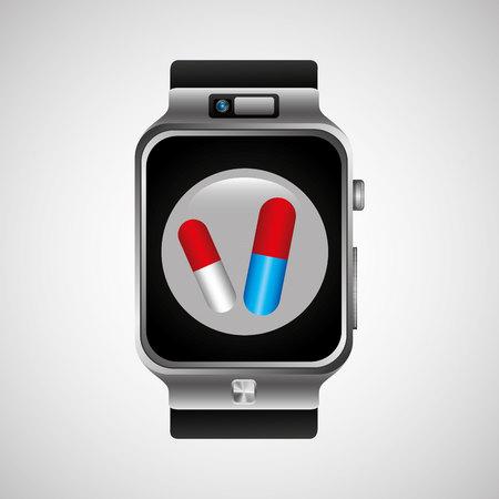 sleeping pills: smart watch health technology medication design vector illustration Illustration