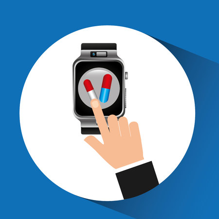 smart watch health technology medication design vector illustration Illustration