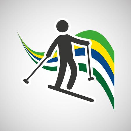 sportsman: skiing sportsman flag background design vector illustration eps 10 Illustration