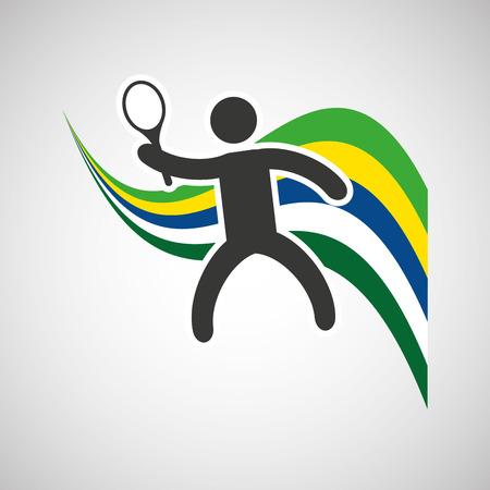 sportsman: tennis sportsman flag background design vector illustration eps 10 Illustration