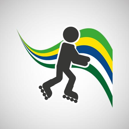 sportsman: roller skate sportsman flag background design vector illustration eps 10
