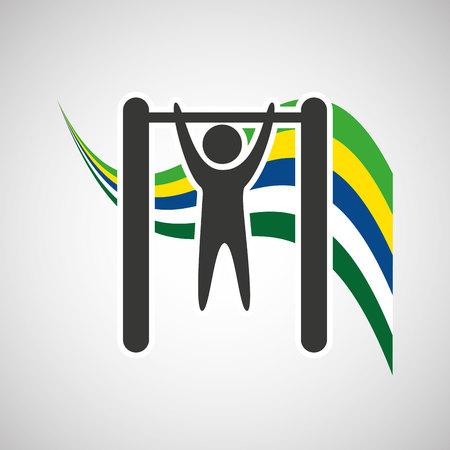 sportsman: uneven bar sportsman flag background design vector illustration eps 10