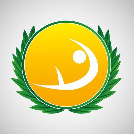 pommel: artistic gymnatic symbol label laurel wreaths vector illustration eps 10