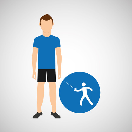 athlete man fencing sport graphic vector illustration eps 10 Illustration
