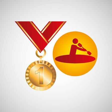 gold medal canoe rowing vector illustration eps 10