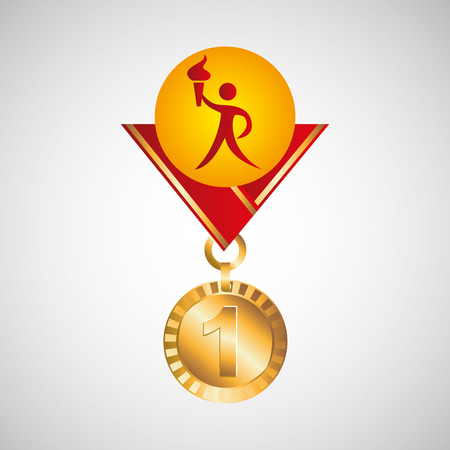 relay: gold medal athlete torch icon vector illustration eps 10