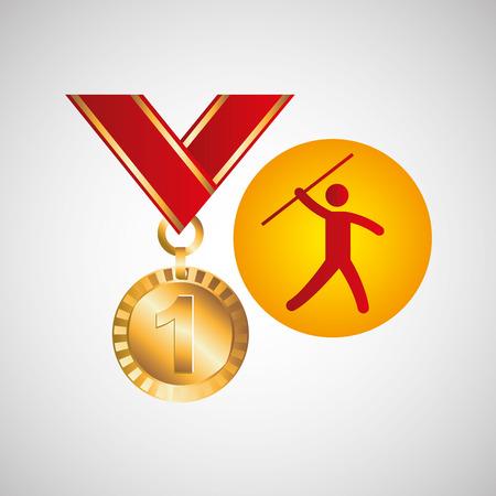 lanzamiento de jabalina: medalla de oro de lanzamiento de jabalina icono de ilustración vectorial eps 10