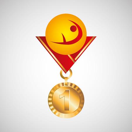 Золотая медаль художественная гимнастика векторная иллюстрация EPS 10 Иллюстрация