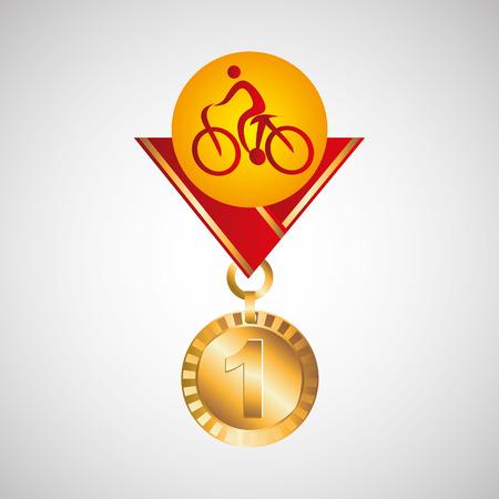arbitro: Ilustración de vector de bicicleta de montaña de medalla de oro eps 10