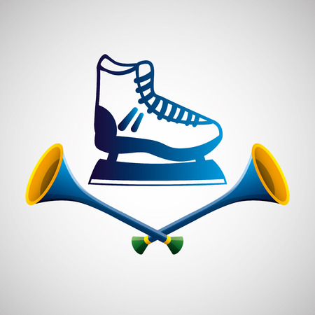 ice skate sport   blue badge vector illustration eps 10
