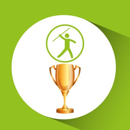 lanzamiento de jabalina: silueta del hombre atleta jabalina ilustración trofeos vector EPS 10