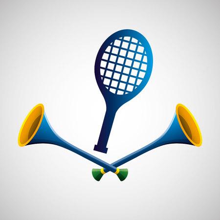 side table: tennis sport   blue badge vector illustration eps 10