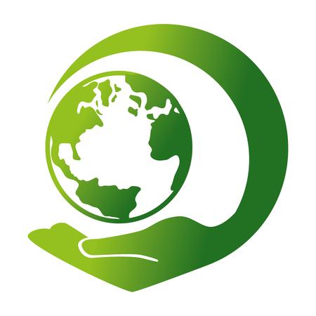 세계 행성 생태 기호 벡터 일러스트 디자인